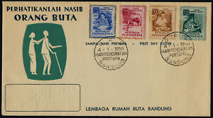 Indonesia B88-91 on FDC - Benefit for the Blind, Waver, Education