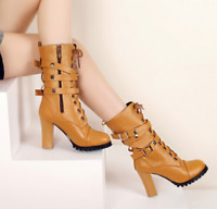 Womens Punk Buckle Motorcycle Block High Heels Mid Calf Boots Round Toe Shoes Sz