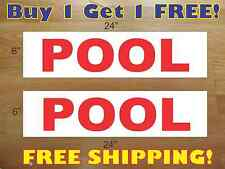 """POOL RED 6""""x24"""" REAL ESTATE RIDER SIGNS Buy 1 Get 1 FREE 2 Sided Plastic"""