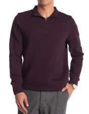 Toscano Quilted Half Zip Pullover Black Currant L NWT $235