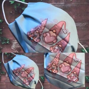 VALENTINES GNOMES face mask Double Layered Elastic Loop