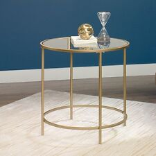 Sauder International Lux Round End Table with Tempered Glass Top in Satin Gold