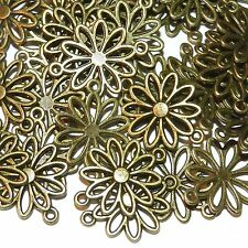 ML925 Antiqued Bronze 25mm Open Daisy Flower Link Jewelry Component 25pc
