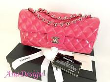AUTHENTIC CHANEL CLASSIC HOT PINK PATENT LEATHER FLAP BAG SHW
