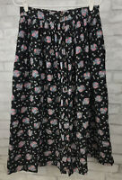 Vintage Allen Solly Modest Corduroy Long Black Floral Skirt Cotton Pockets Sz 14