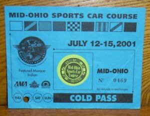 2001 Mid-Ohio Sports Car Course Cold Pass Ticket