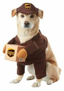 """UPS Pal Delivery Driver Halloween Dog Costume - XS 8"""" Length 12-16"""" Chest #4265"""