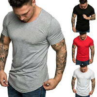 MENS' SUMMER SHORT SLEEVE T-SHIRTS SPORTS FITNESS BASIC TEE CASUAL SLIM FIT TOPS