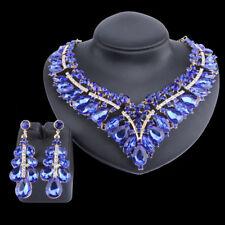 Women Bridal Crystal V-Shaped Teardrop Wedding Necklace Earring Jewelry Sets