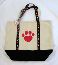 """Paw Print Tote Bag Red Black Off White Canvas Dog Bones Hearts Cotton 18x16"""" New"""