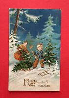 Künstler Glückwunsch AK WEIHNACHTEN 1918 Kinder im Wald mit Tannenbaum ( 55958
