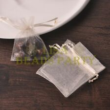 100pcs 16x11cm Organza Wedding Party Decoration Gift Candy Sheer Bags Beige