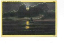 Vintage Postcard Silver Moonlight On A Calm Sea Series S12 Unused