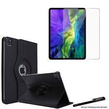 Housse Etui Rotatif Noir pour Apple iPad pro 12.9 2020 + Vitre de protection