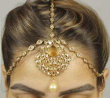 MP- 54 Latest Pakistani Matha Patti Pearl Stone Indian Maang Tikka Bridal Head