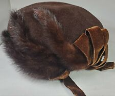 Vintage Sheraton Hat Beret Style Velour with Fur Accent!