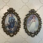 Vintage Pinkie And Blue Boy Pictures In Oval Metal Ornate Frames From Italy