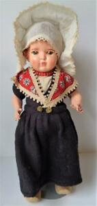"""Antique 14"""" Composition DUTCH GIRL Doll Made in Holland in Original Clothes"""
