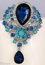 Fabulous Sparkly Blue Crystal Drop Diamante Brooch Pin Party Gift Present