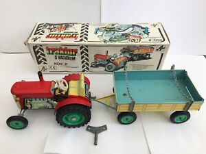 Zetor Tractor with Trailer - Mechanical Tin Toy With Original Box And Key