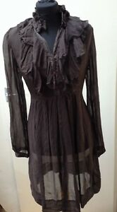 Sheer Phase Eight Knee Length Dress Brown Colour Long Sleeves Size 12
