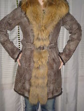 K-YEN Shearling Fur Leather Coat Racoon Trim made in France Size S BNWT