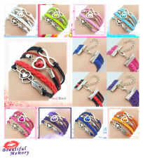 Sail Infinity Love Heart Pearl Friendship Antique Silver Leather Charm  Bracelet