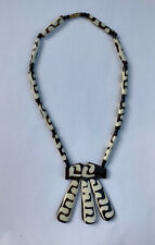 Vintage Ethnic Tribal Style Ceramic Brown White Necklace