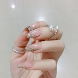 Glitter Nude Pink False Nails Artificial Tips Full Ballerina Press On Fake Nail