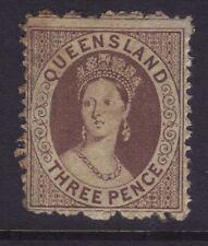 Queensland Sg 67,Sc# 27a; 3d Brown Chalon,Perf 13.Fine MLH,cv £125.