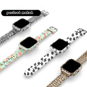 Printed Silicone Watch Band Strap + Full Case for Apple Watch Series 6 5 4 3 2 1