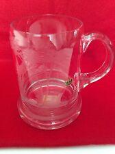 Vintage Glass Beer Stein Mug Etched w Bird & Trees Germany EISCH Artist NEW