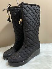 Tory Burch Gigi Quilted Boots Brown Knee High Wedge Heels Winter Snow 8M $298