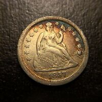 1857 P Seated Liberty One Dime Stars AU Almost Uncirculated 10c Dollar COLOR