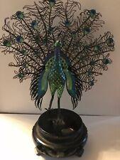 Antique Cloisonne Peacock Filigree Figurine Gold & Silver stamped blue enamel