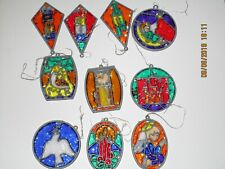 Lot of 10 Christmas Suncatcher Ornaments: Dove, Candles, Angel, Fireplace MORE