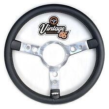 "Vintage Warehouse Retro Classic 15"" Polished With Black Vinyl Steering Wheel Kit"