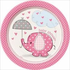 UMBRELLA ELEPHANT GIRL SMALL PAPER PLATES (8) ~ Baby Shower Party Supplies Pink
