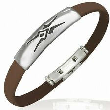 Man Bracelet Rubber Brown Tribal