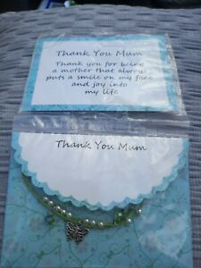 Thank You Mum Bracelet  Card And Envelope in Packet  Thank You