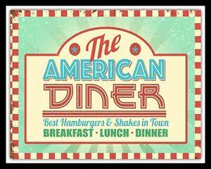 THE AMERICAN DINER BREAKFAST LUNCH DINNER CAFE RESTAURANT METAL PLAQUE SIGN 659