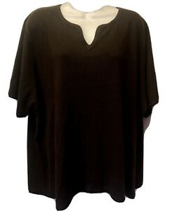 New Kathie Lee Women Plus 22/24W 2X Brown Fuzzy Short Sleeve Pull Over Sweater