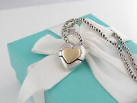 Rare Auth Tiffany & Co Silver 18K Gold Heart Puzzle Necklace