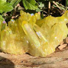 RARE 605g Titanium Sunshine Aura Quartz Crystal Cluster Energy Healing Specimen