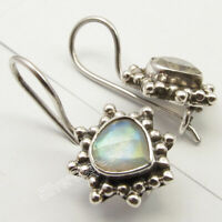 "RAINBOW MOONSTONE Stone HEART Oxidized Earrings 0.8"" 925 Solid Silver Jewellery"