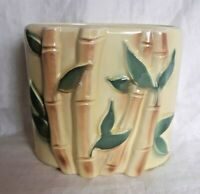 Vtg Royal Copley Ceramic Planter Yellow Bamboo Pattern