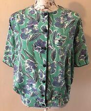 Vintage Alexon Green Blue Black Floral Short Sleeve Button Up Blouse Size 16