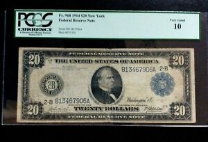 Series of 1914  New York 20 Dollar $20.00 Federal Reserve Note PCGS 10