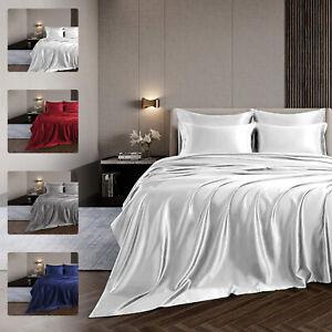 Bed Sheet,Fitted Sheet,Pillowcases Set Satin Silk Deep Pocket King/Queen/Full