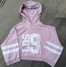 New New Look Girls dusky Pink Slouch /Crop Hooded Sweat Shirt 14-15yrs